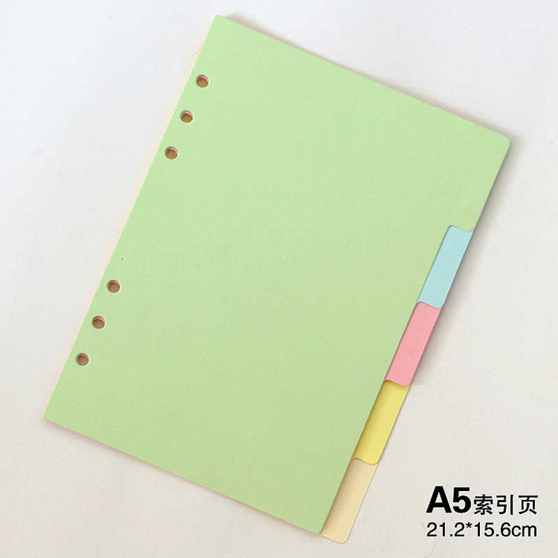 Original classic spiral notebook divider, Cute fine organizer planner seperator pages Office school stationery index paper A5 A6
