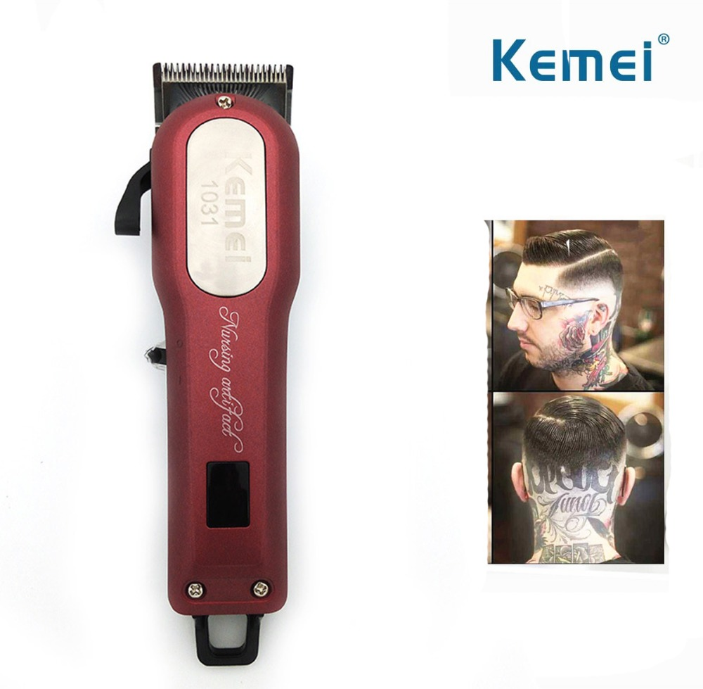 Kemei Professional Cordless Hair Clipper Electric Hair Beard Trimmer Powerful Hair Shaving Machine Hair Cutting Razor Barber 100 240v kemei hair clipper beard electric razor electric professional hair trimmer powerful hair shaving machine barber