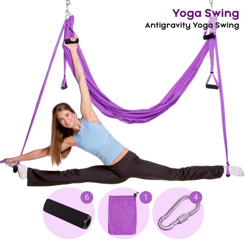 Aerial Yoga Swing Anti Gravity Yoga Hammock Fabric Flying Traction Device Yoga Hammock Set Equipment For Pilates Body Shapin fitness yoga hammock yoga swing anti gravity aerial straps high strength fabric decompression hammock mix color with 6 grip hand