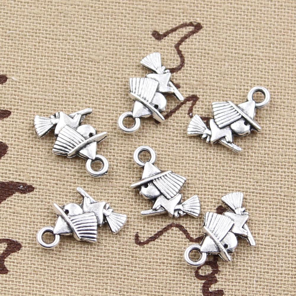 100% QualitäT 15 Stücke Charms Nette Hexe Reiten Broomstic 16x12mm Antike Vintage Tibetischen Silber Diy Armband Halskette Klar Und GroßArtig In Der Art Der Anhänger Fit