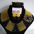 Chunky Yellow and Black  african beaded jewelry set nigerian wedding crystal  B4297