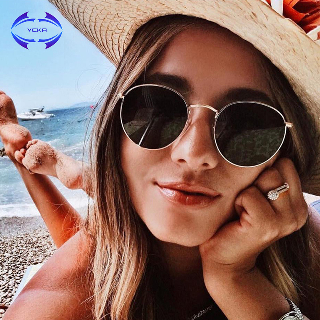 584e85f6913b VCKA 2019 Fashion Sunglasses Women Summer Vintage Cat Eye Style metal frame  Lens Brand Stylish Women Alloy frame Eyewear