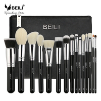BEILI 15 Pieces Black Premium Goat Hair Big Powder Foundation Blusher Eye Shadow Contour Makeup Brush
