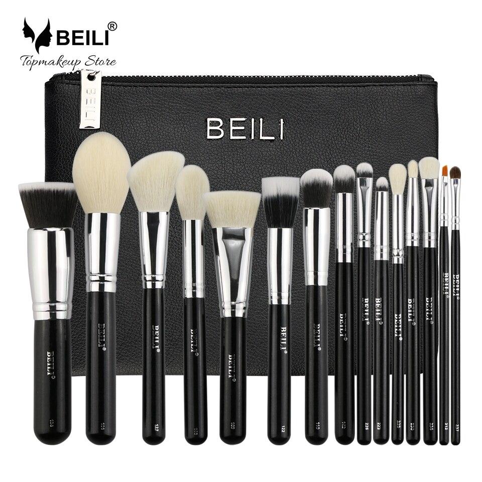 BEILI 15 pcs Black Premium Goat hair Big Powder Foundation blusher eye shadow Contour Makeup brush set Cosmetic Pouch