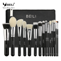 BEILI 15 Pcs Black Premium Goat Hair Big Powder Foundation Blusher Eye Shadow Contour Makeup Brush