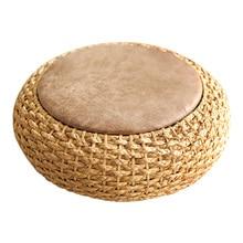 Современный Вязаный Круглый пуф оттоманка W/искусственная кожа сиденья пол подушка для йоги для медитация соломы Rusitc татами мебель