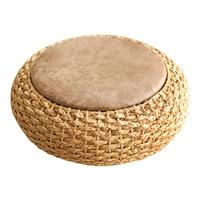 Modern Knitted Round Pouf Ottoman Stool W/PU Leather Seat Pad Floor Yoga Meditation Cushion Straw Rusitc Tatami Pouf Furniture