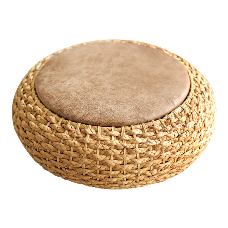 Modern Knitted Round Pouf Ottoman Stool W/PU Leather Seat Pad Floor Yoga Meditation Cushion Straw Rusitc Tatami Pouf Furniture
