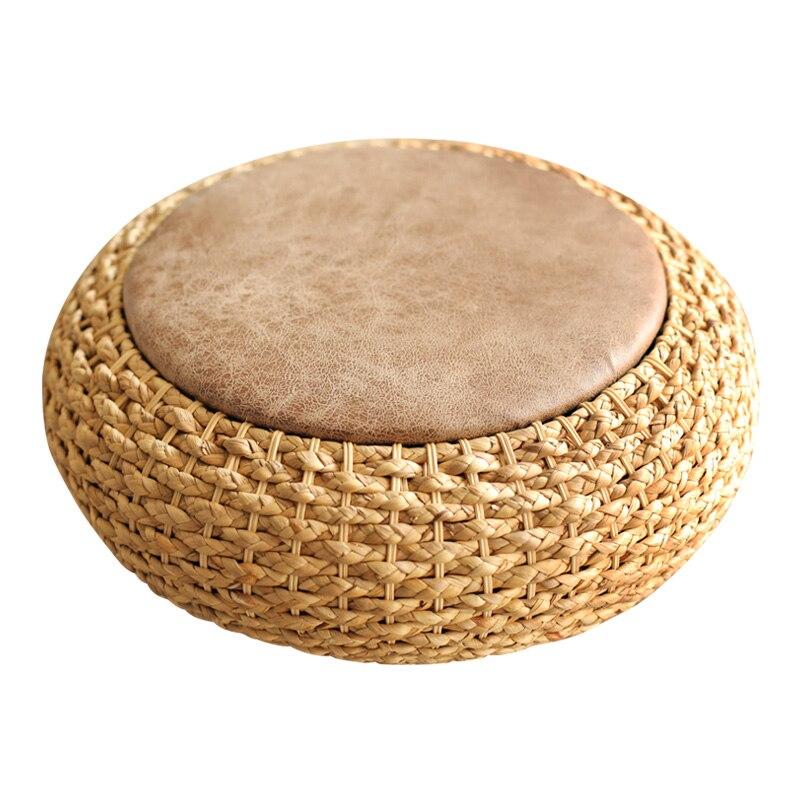 Moderna Lavorato A Maglia Rotondo Pouf Pouf Sgabello W/PU Sedile In Pelle Piano Pad di Yoga Cuscino per La Meditazione Paglia Rusitc Tatami Pouf mobili