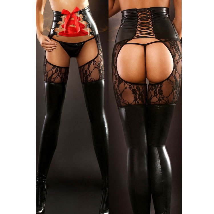 ENGAYI Brand Women Fashion sexy lingerie hot Faux Leather Latex Sexy Costumes Nuisette Lenceria Sexy Underwear