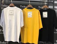 19FW Latest hip hop Summer Back patch VETEMENTS Oversize men women Short sleeve t shirt kanye west tee Black white yellow Cotton