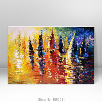 Hand painted abstract oil painting boat ship sailing canvas oil paintings Wall art Pictures for living room modern wallpaper 2