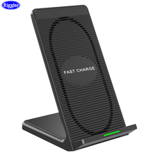Riggler 10W Fast Charge Cellphone Holder for Iphone XS MAX XR 8 Plus Desk Wireless Charger Cooling Fan