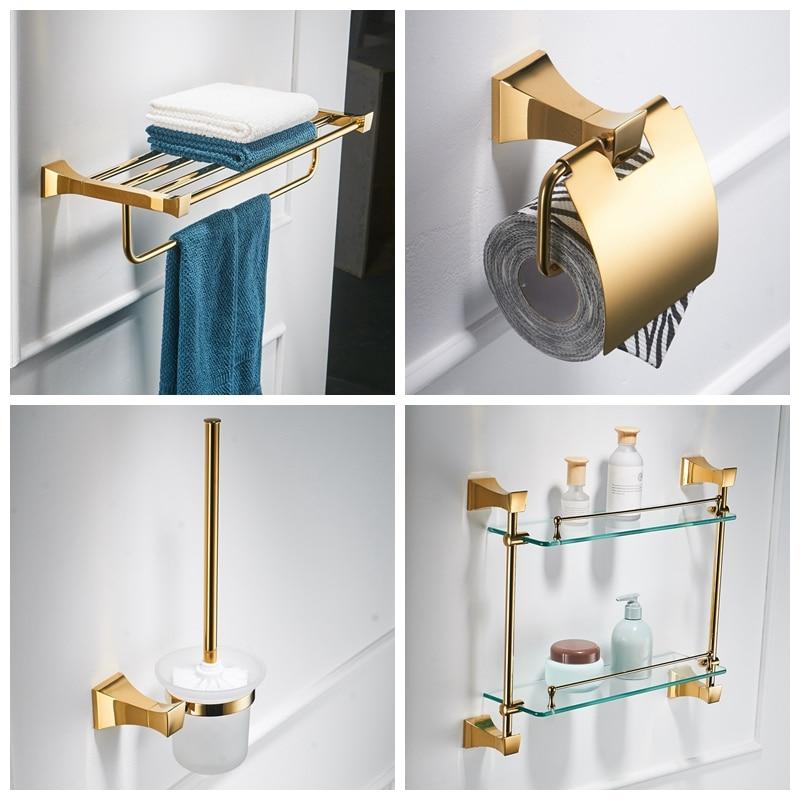 Luxury Gold Bathroom Accessories Set Toilet Bursh Holder Gold Polished Towel Ring Bath Hardware Set Wall Mount Bathroom Products