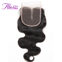 Alishes Hair Brazilian Body Wave Hair Lace Closure Bleached Knots Middle Part 4 4 Lace Closure