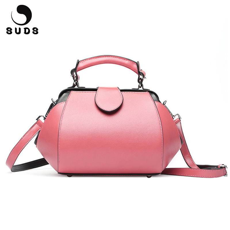 SUDS Brand Genuine Leather Women Doctor Tote Bags Luxury Handbags Women Bag Designer Crossbody Bag Cow Leather Female Travel Bag suds brand women casual 100