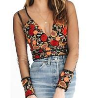 VISNXGI Women Lace Blouses 2018 Sexy Summer Deep V Neck Long Sleeve Rear Zipper Flowers Embroidery