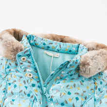 DBA8030 dave bella baby girls jacket children long sleeve outerwear  fashion blue printed coat