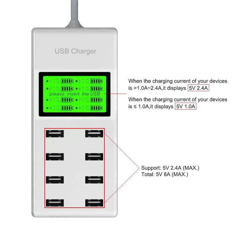 Leebote 8 Ports USB Charger 40W Multi Port USB Power Adapter - Ανταλλακτικά και αξεσουάρ κινητών τηλεφώνων - Φωτογραφία 2