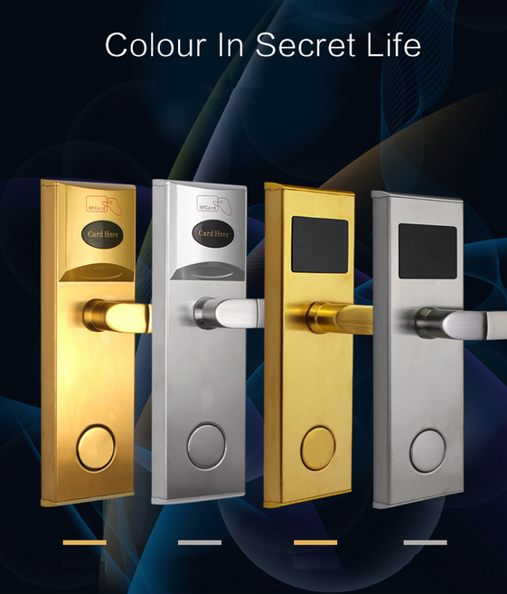 Gold/Silver smart IC card lock access one electronic smart sensors lock hotel lock with 2 IC card electronic locks