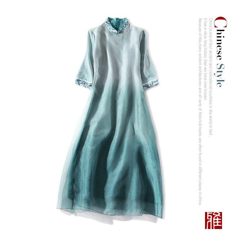 Синий qipao шелковое платье 2019 весна лето женское длинное повседневное сексуальное богемное пляжное платье из органзы Плюс Размер Бохо чонса