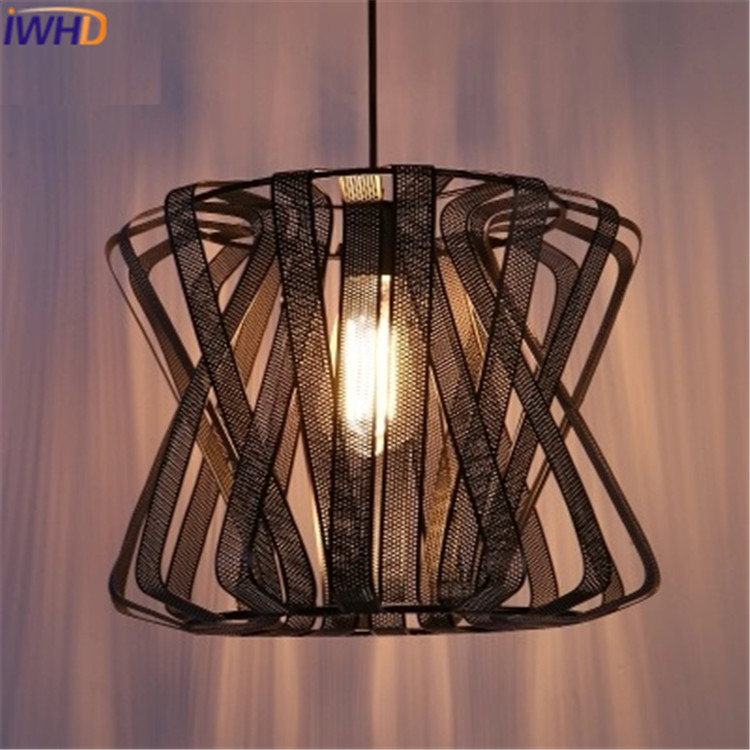 IWHD Retro Vintage Pendant Lights Black Iron Lampshade Loft Style Pendant Lamps E27 110V 220V for Dinning Room Home Lighting loft style vintage pendant lamp iron industrial retro pendant lamps restaurant bar counter hanging chandeliers cafe room