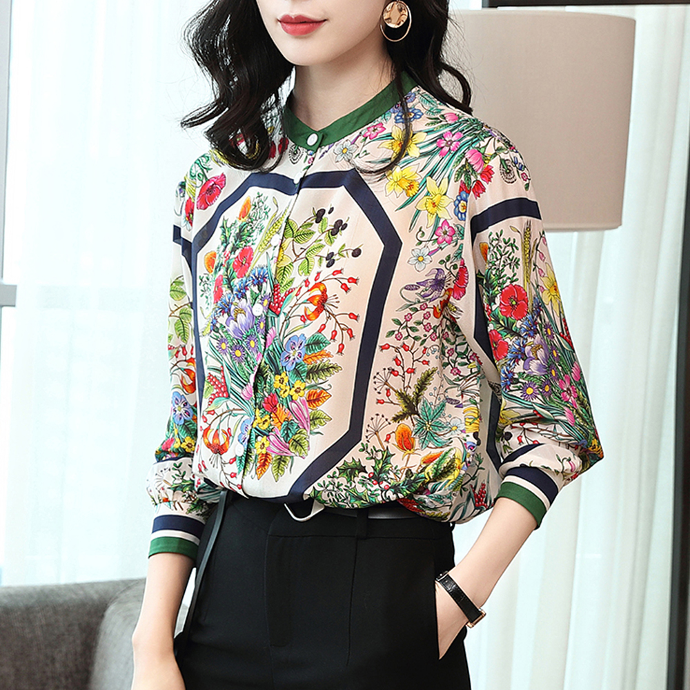 women silk   shirts     blouses   2019 new fashion long-sleeved loose   shirt   elegant vintage printed   shirt   casual female tops clothing