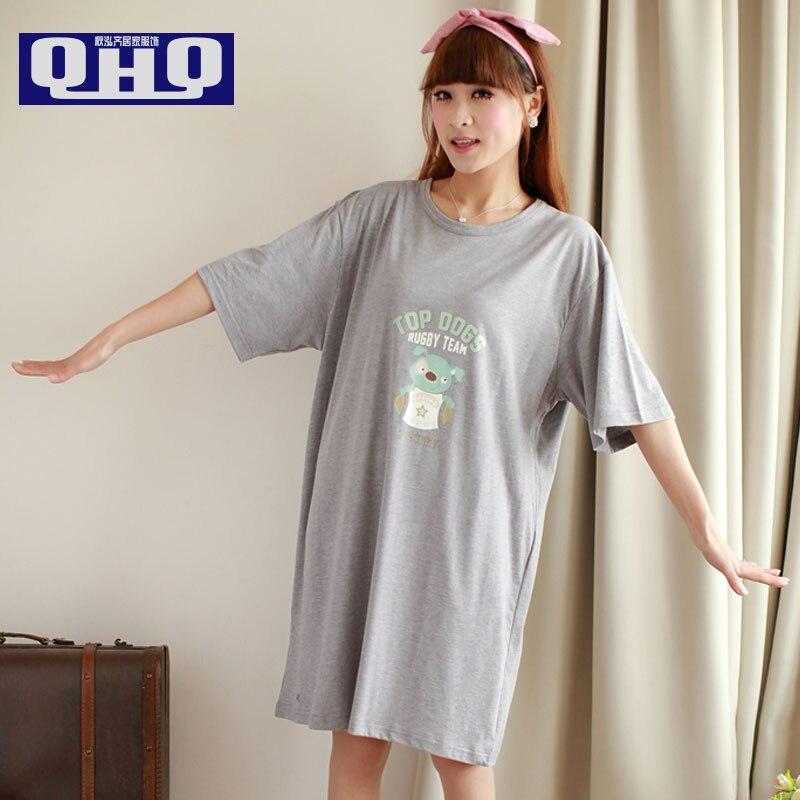 Свежий ночной рубашке женские летние пижамы дома 100% хлопок с коротким рукавом летние большие размеры для беременных свободные сна платье