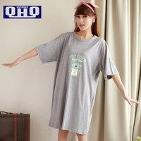 Fresca estate camicia da notte femminile degli indumenti da notte a casa 100% cotone di estate del bicchierino-manicotto più il formato di maternità salone sonno sciolto vestito