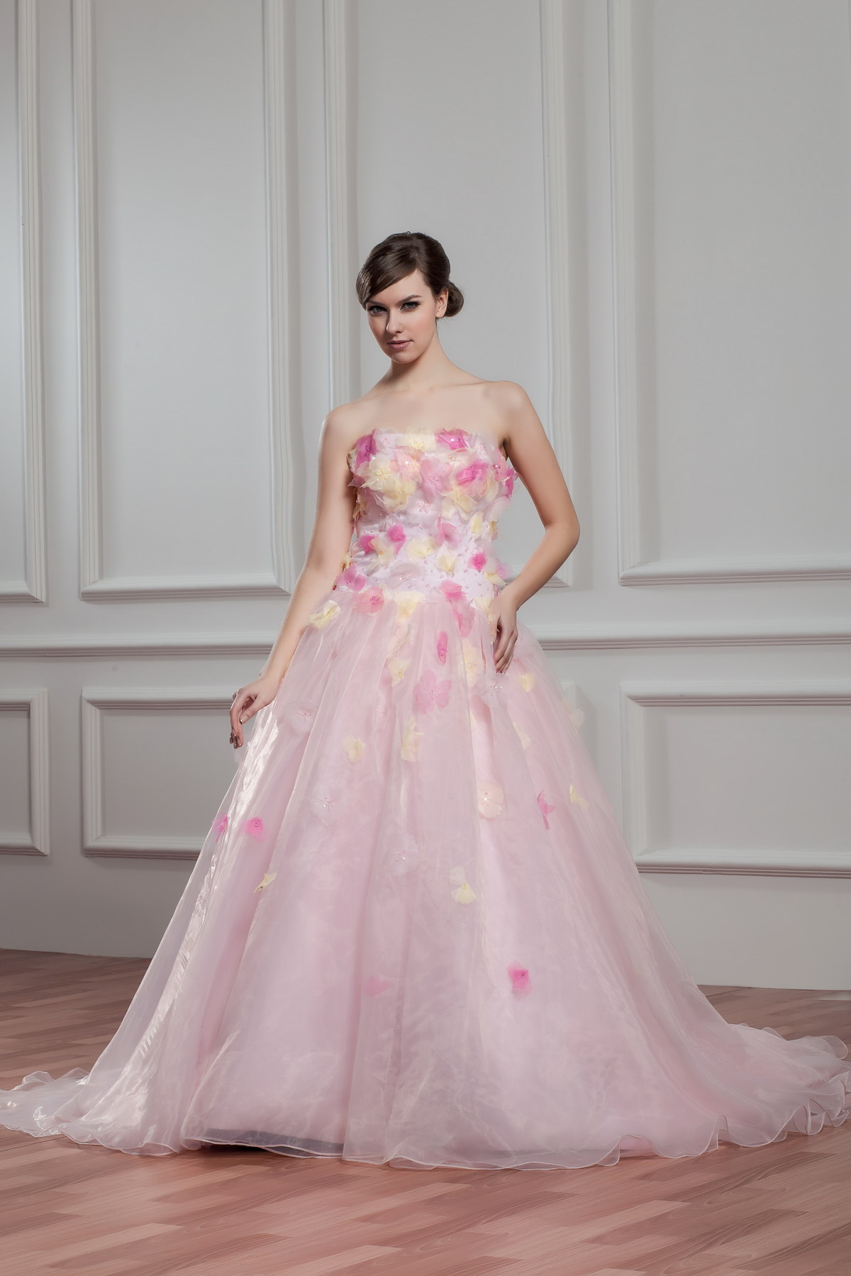 plus size pink wedding dresses with Floor length strapless ...