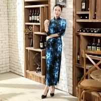 Speciale Aanbieding Dames Jurk Zwart En Blauw Velours Qipao Lange Cheongsam Top Prom Gown Jurk Bloemen Maat Sml XL XXL XXXL