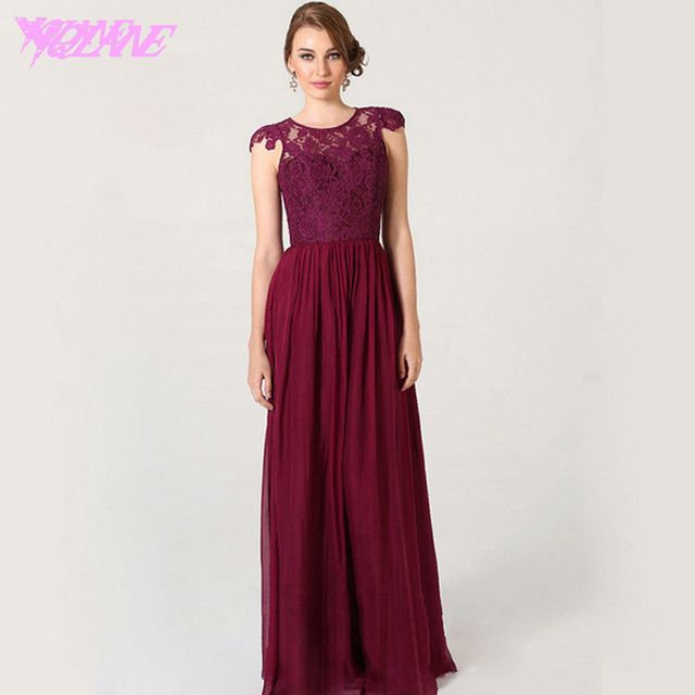 Aliexpress.com : Buy Wine Red Long Lace Bridesmaid Dresses Formal ...