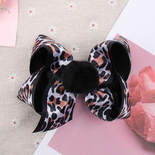 1 Pc 5 Inch Leopard Hair Bows for Girls Double Layers Hairgrips with PomPom Bowknot Handmade Ribbon/Satin Hairbows Children