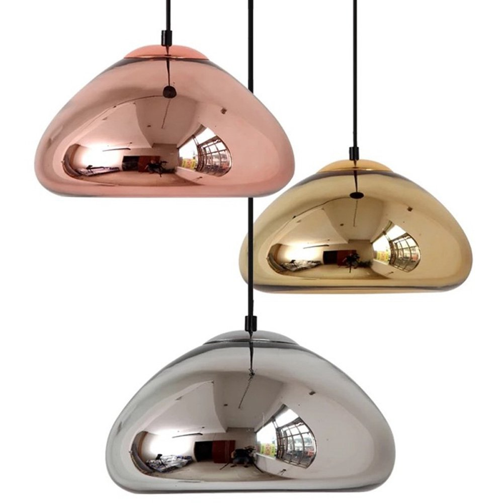 Void Copper Brass Bowl Bar Counter Pendant Lamp Mirror Glass Bar Art Pendant Lamp Modern Dining Room Hanging Wire Lighting