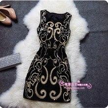 Haft cekiny Plus rozmiar Sexy Vintage eleganckie tanie krótkie kobiety czarne letnie sukienki koktajlowe