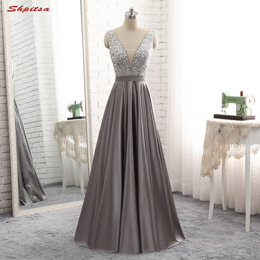 Long Evening Dresses Long 2017 Weddings on Sale Women Satin Beaded ...