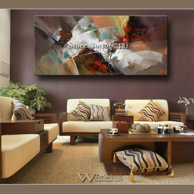 European modern hand painted abstract painting hotel villa