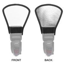 1pcs 2-in-1 Silver/White Camera Flash Diffuser Reflector Mini Photo Difusor Flash Light for Canon Nilon Sony DSLR Camera