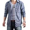 Moda casual masculino camisa xadrez de manga Longa 100% dos homens do algodão além de grande tamanho L XL XXL XXXL 4XL 5XL 6XL camisa