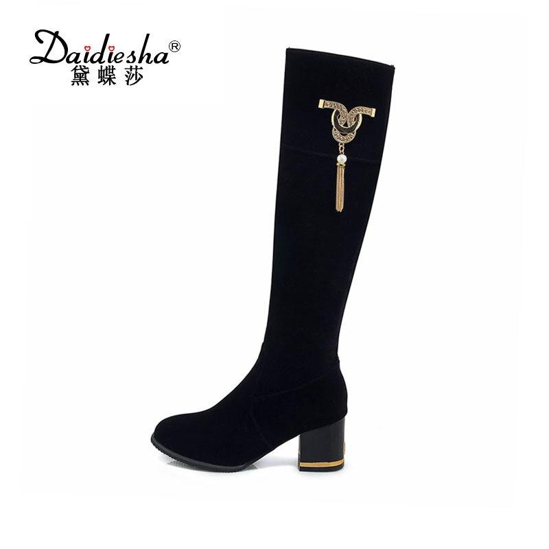 0b874577 Fur Decoración black b Rodilla Black Without Calientes Delgado With Fur Fur  Zapatos a Flock De Invierno Sólido Perla Daidiesha Moda ...
