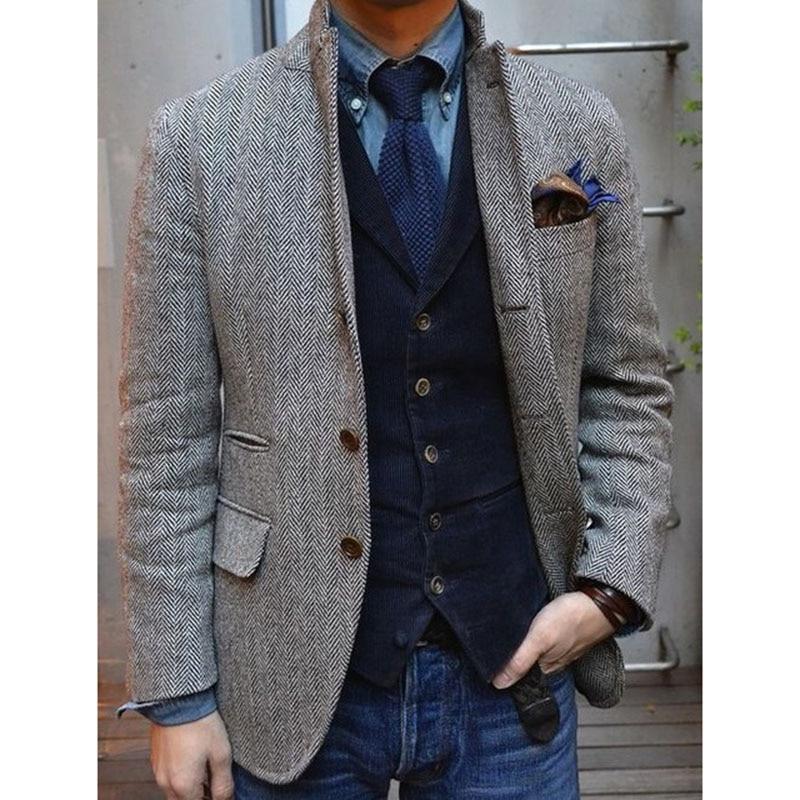 2017 Gray Herringbone Tweed Tuxedo Jackets British Men Suit Slim Fit Mens Blazer Coat Grey Jacket Custom Wedding Suits For Men