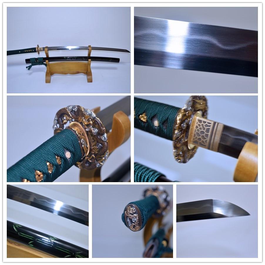 Hand Made T10 folded steel KATANA SWORD Clay Tempered Engraving Saya Real Yokote