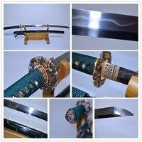 Ручной работы T10 стали сложенном Катана (меч) глины закаленное гравировка Сая реального Yokote