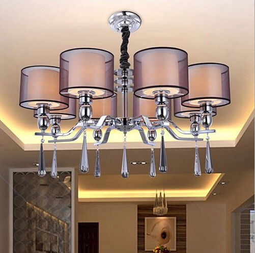 Purple cloth lampshade European style crystal chandelier/luxury modern led crystal pendant lamp romantic living room 90-260V a1 master bedroom living room lamp crystal pendant lights dining room lamp european style dual use fashion pendant lamps