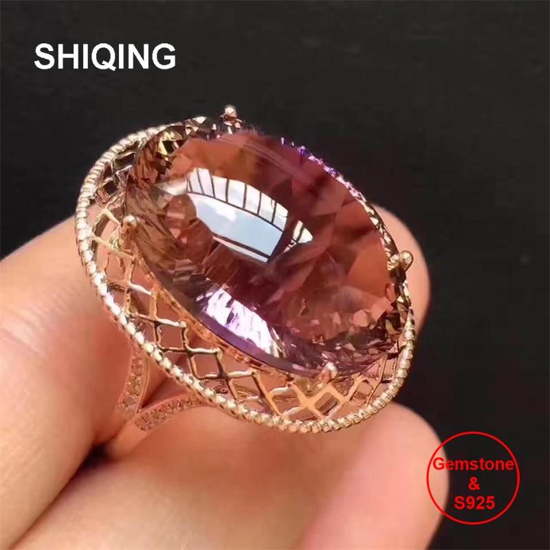 SHIQING Bolivian Nature Ametrine 925 Sterling Silver Mash Engagement Big Nobel Ring For Women