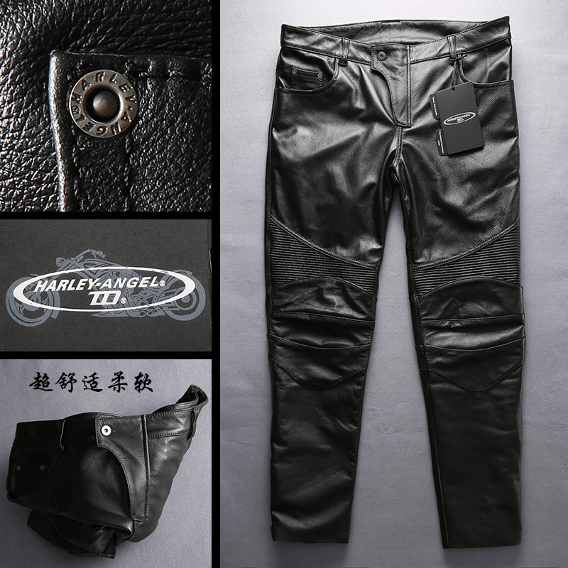 NOBLE DUKE HARLEY men leather pants motorcycle trousers