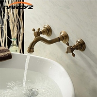 Wholesale and Retail Antique Brass Bathtub Mixer Taps 3 pcs Basin Dual Handles Hot and Cold Wall Mounted Basin Faucet XR GZ 8208
