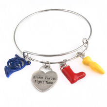 RJ How I Met Your Mother Right Place&Right Time Bracelets Alice in wonderland Umbrella Red Boot Blue Horn Women Girl Bangles(China)