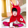 2016 Korean Winter Cartoon Rabbit Child knitted hat baby kids wool hats can wear as shawl age for 1-4 years old