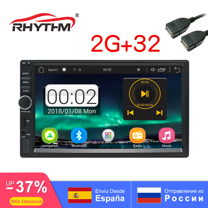NEW 2din Android 2G+32G Auto Car Radio GPS Stereo bluetooth 1080P multimedia Navigation 7 1024X600 screen universal SWC FM DVD